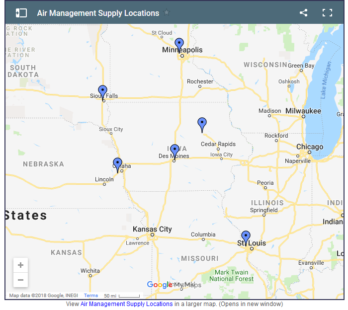 Air Management Supply Locations